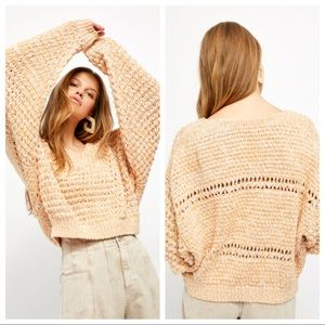 NWT Free People Coconut Knit V-Neck Sweater
